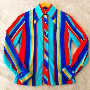 ⭐HOST PICK⭐ RETRO Asymmetrical Bold Striped Blouse